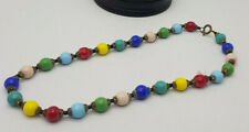"""ANTIQUE MULTICOLORED BEADS NECKLACE 14"""" LONG"""