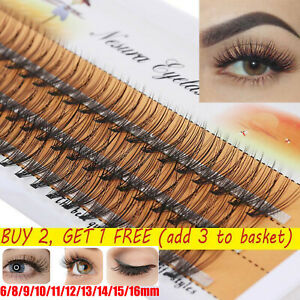 60 Cluster Eyelashes Flare Individual False Eye Lashes C Curl Knotted/Knot Free