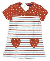 Little Bitty- Girls 2T Short Sleeve Red Blue White Striped Polka Dot Dress