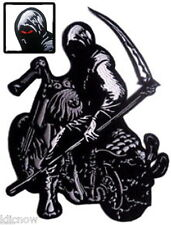 "GRIM REAPER with SYTHE on MOTORBIKE BACK PATCH 23CM x 30CM (9"" x 12"") Sew on"