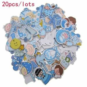 Mixed Blue Painted Wood Craft Buttons Cartoon Baby Shower Wooden Button 20/40Pcs