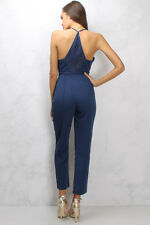 NASTY GAL Rare London Blue Lace Back Tailored Jumpsuit SIZE LARGE US/ 8