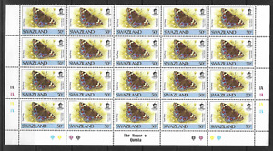 Swaziland 1987 Eyed Pansy 50c Cylinder Part Sheet 1A SG 523 Superb MNH