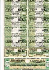 Germania, anleihe DES DEUTSCHEN Reichs, 1922, 12 x coupon per 50,000 Marchi
