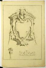 Gravure sur cuivre originale de Poilly, Ornements