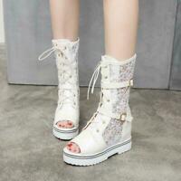 Mesh Sandals Summer Boots Women Peep Toe Mesh Shoes High Wedge Heel Hidden Heels