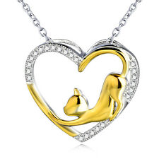 CZ Gems Two-Tone Gold Cat Love Heart Pendant Necklace Chain 925 Sterling Silver