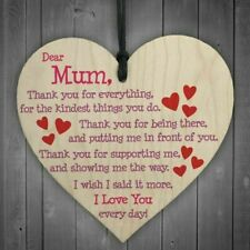 RED OCEAN Mum I Love You Everyday Wooden Hanging Heart Cute Mums Sign - Brown