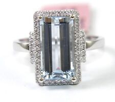 Long Emerald Cut Aquamarine & Diamond Halo Lady's Ring 14k White Gold 4.02Ct