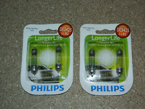 (2) NEW PACKS OF 2 PHILIPS LONGER LIFE DE3425 DOME TRUNK LIGHT BULBS DE3425LLB2