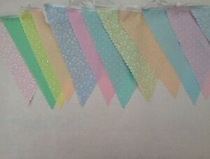 Mixed Pastel Colour Wedding Bunting Fabric 12m/40ft Great for any occasion