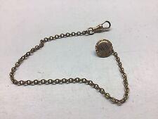"""Antique Zenith Gold Filled Pocket Watch Chain 9"""" Mono """"WM"""""""