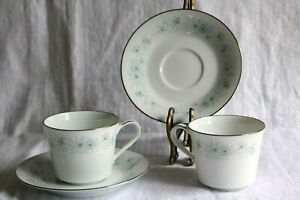 """Noritake INVERNESS 6716 Japan 3 1/4""""d x 2 3/4""""h Coffee Cups & 6"""" Saucers (2 ea)"""