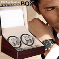 Watch Winder Display Box Automatic Rotation Storage 4+6 Grids Wooden Cases
