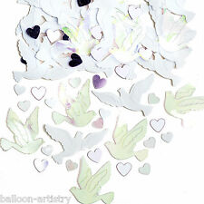 4 Bags Wedding Party White Doves Pink Iridescent Hearts Confetti Sprinkles