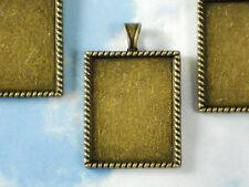 5 Rectangle Bezel Blanks Charms Pendants Setting Tray Bronze Finish #P1106