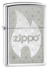 Zippo Hidden Flame Chrome Lighter,24942,+Wick +Flints