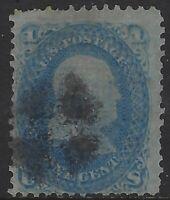 """US Stamps - Scott # 92 - 1c Franklin - """"F"""" Grill                         (L-529)"""