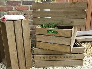 VINTAGE STYLE WOODEN APPLE CRATE STORAGE BOX FRUIT CRATES BUSHEL BOX SHABBY CHIC