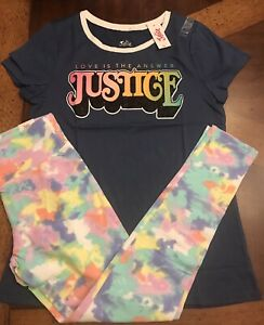 JUSTICE 2 PC GRAPHIC TANK TOP /& MESH SHORTS SET GIRLS ACTIVE OUTFIT SZ 18 20