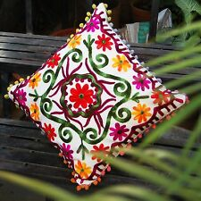 """Home Decor Indian Suzani Cushion Covers Woolen Embroidery Pillows Cases 16x16"""""""