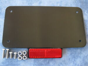 Motorcycle Number Plate, back plate with reflector. Custom, Cafe Racer, Bobber.