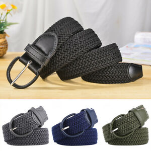 Hot Unisex PU Leather Covered Buckle Woven Elastic Stretch Belt Wide One Size AU