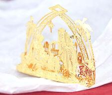 Danbury Mint 23kt Gold plated Christmas Ornament 2011 Nativity Bethlehem Manger