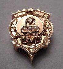 Large Ornate Antique Victorian Slide - 14K Yellow Gold & Seed Pearl - 8.8g