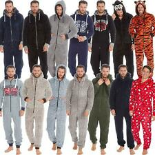 Mens/Boys All In One Fleece Jumpsuit Pyjamas Hood Size Small Medium Large XL