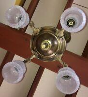 Antique Brass 4 Arm Pan Chandelier Glass Shades Hanging Light Vintage Gold Gilt