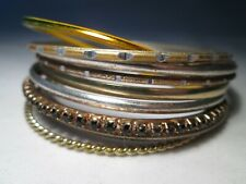 10 x Vintage Narrow Ethnic Metal Bracelets in Different Colours