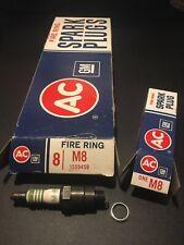 AC M8 Fire Ring Spark Plugs Green Ring - Set of 8 - Original 1559459 USA NOS