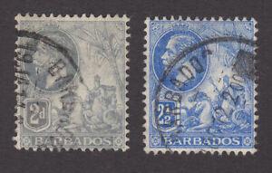 Barbados 1912 Used FU Definitives King George V Portrait Britannia SG173-4