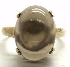 Sterling Silver Translucent Solitaire Cabochon Brown Smoky Quartz Cocktail Ring