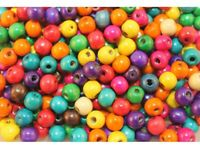 200 Stück Holzperlen bunte Perlen Holz Farbmix 10 mm #XX-011