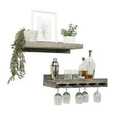 """Del Hutson Rustic Luxe 6"""" x 24"""" x 10"""" 2-Tier Wood Shelf and Glass Rack Set"""