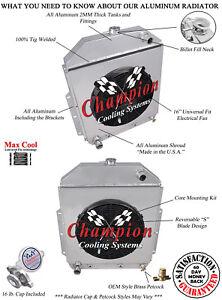 "2 Row CR Champion Radiator,16"" Fan,Shroud for 1942 - 1952 Ford Truck Ford Config"