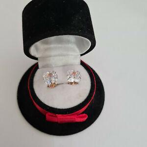 Beautiful asscher cut Diamond stud earrings in rose gold over Sterling Silver
