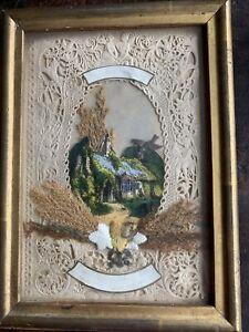 19c Antique Victorian Valentine Card Framed & poem To Back