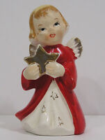 "Vintage Small Christmas Angel Figurine Holds Gold Star Red Coat 3 1/4"" tall '50s"