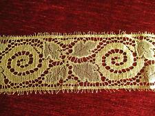 Large dentelle métallique dorée fabricant GM ancienne (1925-1930?) 2 m x 8,5 cm