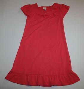 New Gymboree Girls 6 year Dress Red Coral Ruffle Hem & Collar Soft Knit Comfy