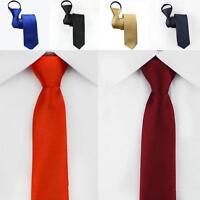 New Men Slim Easy Zip Suit Tie Silk Necktie Solid Skinny Business Party Work