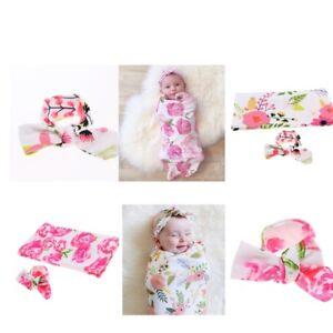2Packs Baby Swaddle Wrap Blanket Sleeping Bag with Headband Set 0-1 Years