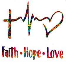 "Faith Hope Love Decal Sticker - Inspirational,Tumbler,Window - Choose Color - 4"""