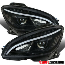For 2008-2011 Benz W204 C-Class LED DRL Strip Black Projector Headlights