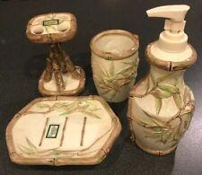 Bamboo Croscill Ceramic Toothbrush Holder Soap Dish Lotion Dispenser Tumbler Set
