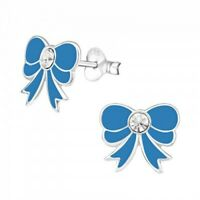 Childrens girls 925 sterling  silver blue bow crystal stud earrings  - pouch