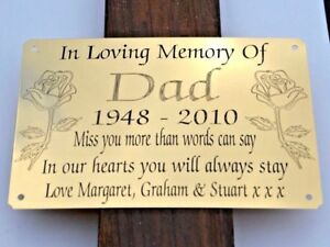 """SOLID BRASS MEMORIAL BENCH PLAQUE GRAVE MARKER SIGN 6""""X4"""" PERSONALISED ENGRAVED"""